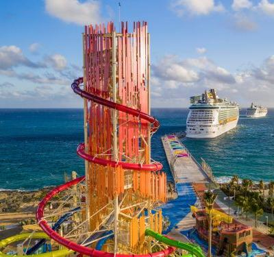 Royal Caribbean has a $250 million private island for its cruise passengers that has a 135-foot-tall waterslide - here's what it looks like