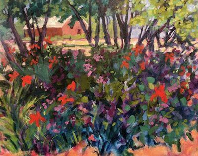 "Contemporary Bold Expressive Still Life Art Painting ""Summer Garden at the Abiquiu Inn-New Mexico"" by Santa Fe Artist Annie O'Brien Gonzales"