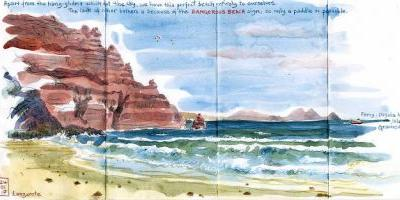 Sketching in Lanzarote: Day 5. Dangerous Beach