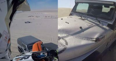 Watch A Dirt Bike Accidentally Land On A Jeep After A 100ft Jump