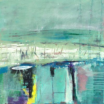 """Abstract Fine Art Painting """"EMERALD DREAMS"""" by Contemporary Expressionist Pamela Fowler Lordi"""
