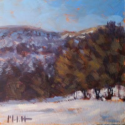Winter Snowy Mountain Landscape Art Original Oil Painting