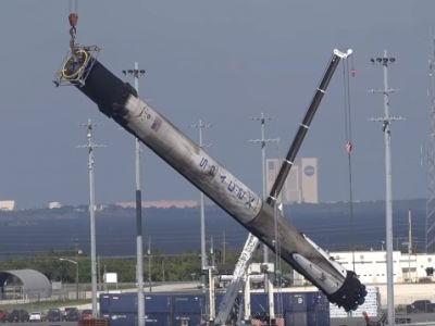 This is what a SpaceX Falcon 9 looks like after it comes back down to Earth
