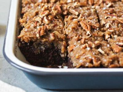 German Chocolate Sheet Cake With Coconut-Pecan Frosting