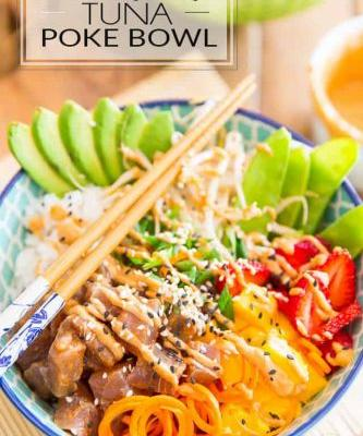 Strawberry Mango Tuna Poke Bowl