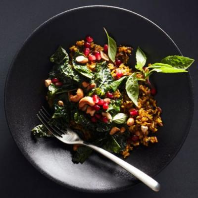 Coconut-Turmeric Rice with Kale and Cashews