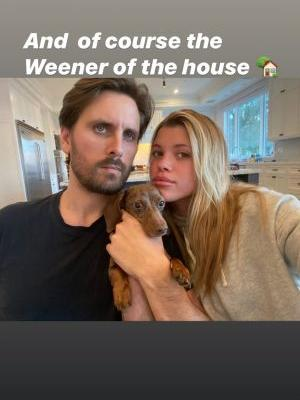 Scott Disick and Sofia Richie Snap a Rare Selfie With Their Pup Hershula: 'Wiener of the House'