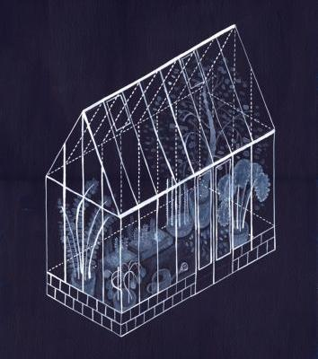 Blue and White Greenhouse Illustrations Appear like Sun-Baked Cyanotypes