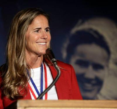 A bizarre plaque of US soccer legend Brandi Chastain is being mocked on social media