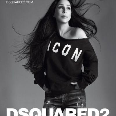 Cher fronts a Dsquared2 campaign wearing an sweater reading ICON