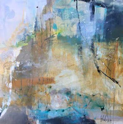 """Contemporary Abstract Landscape Painting """"Rising Upward"""" by Intuitive Artist Joan Fullerton"""