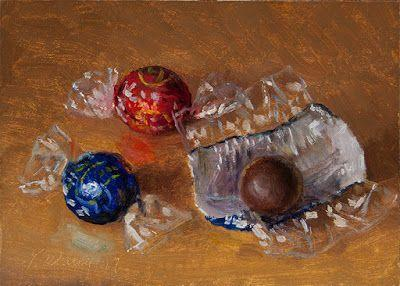Chocolate candy still life food painting