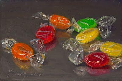Hard candy still life oil painting daily painting a day