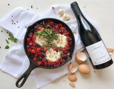 Beet Shakshuka and Beaujolais Wine