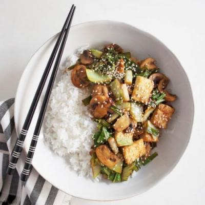 Tofu, Mushroom and Greens Stir Fry
