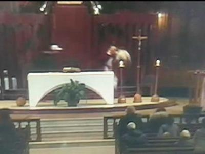 Priest stabbed while leading Mass; suspect arrested after attack is caught on camera