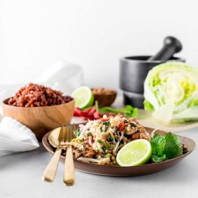 Cauliflower, peanut and tofu larb