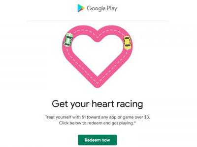Google Play Store celebrating Valentine's Day w/ $1 off $3 apps and IAPs promo