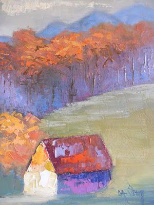 Small Barn Landscape Painting, Textured Art, Daily Painting, Small Oil Painting, 6x8