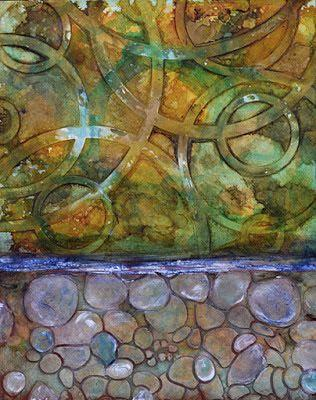 "Contemporary Mixed Media Abstract Painting ""Fantastic Journey"" by Santa Fe Contemporary Artist Sandra Duran Wilson"