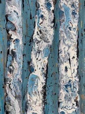 "Aspen Tree Painting, Abstract Aspens,Snow, Landscape ""Aspen Trunks in Winter-Winter Aspens 2018 Series"" by Colorado Contemporary Landscape Artist Kimberly Conrad"