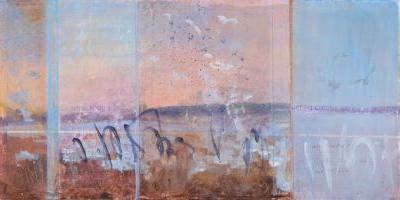 'in awe of our wings' original mixed media contemporary winter landscape by santa fe artist dawn chandler