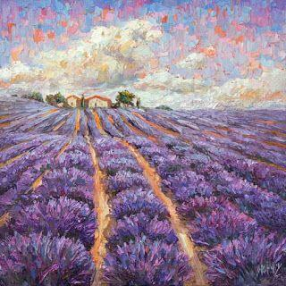 New Lavender Palette Knife Painting by Niki Gulley