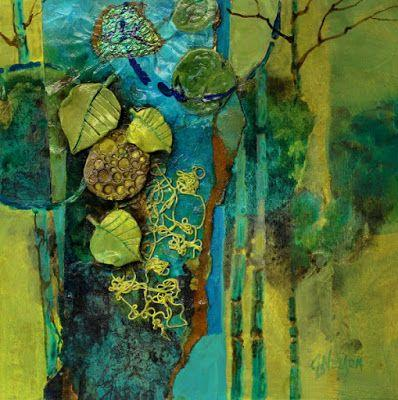 """Mixed Media Abstract Collage, """"Madeline Island Demo 2"""" © Carol Nelson Fine Art"""