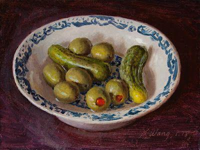 Pickled cucumber and olives, still life daily painting a day small work of art original oil painting for kitchen