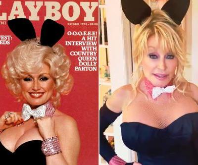 Dolly Parton, 75, recreates iconic Playboy cover for husband's birthday