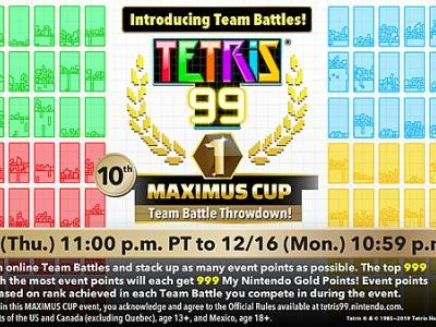 Tetris 99 Hard Drops a Free Update With Team Battle Mode and Additional Features in Lead-up to 10th MAXIMUS CUP