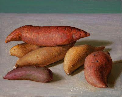 Yams painting still life original daily painting a day