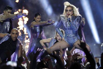 Lady Gaga avoids politics at Super Bowl halftime show, flies off roof of stadium