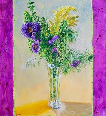 "Still Life Floral Painting,Flower Art ""Radiant Orchid"" by Colorado Artist Nancee Jean Busse"
