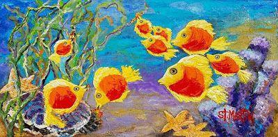 """Contemporary Fish Painting, Colorful Sea Life """"School'sOut"""" by Florida Impressionism Artist Annie St Martin"""