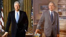 Bush And Clinton Portraits Hidden By Trump Are Once Again Displayed In White House
