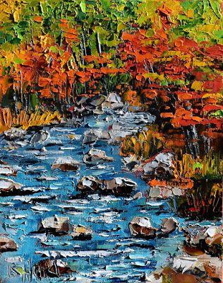 "Fall Stream Painting Landscape Art, Autumn Trees Paintings ""Fall Stream"" by Texas artist Debra Hurd"