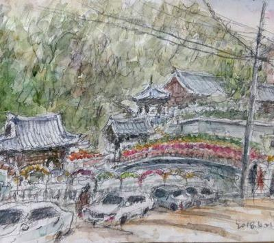 Sketches at Okcheonam Temple with Lotus Lanterns