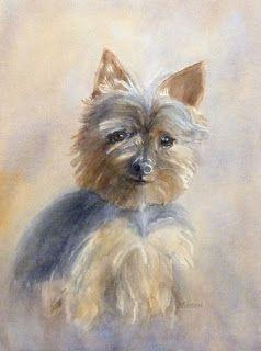 Young Yorkie Terrier Dog Watercolor Animal Portrait Pet Art