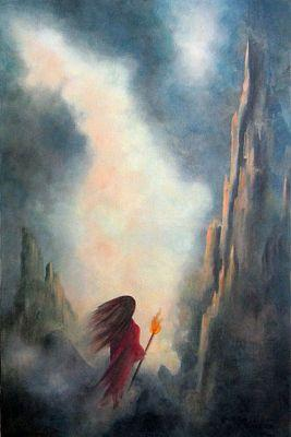 THE SEEKER-Original Fantasy Landscape Oil Painting by Marina Petro