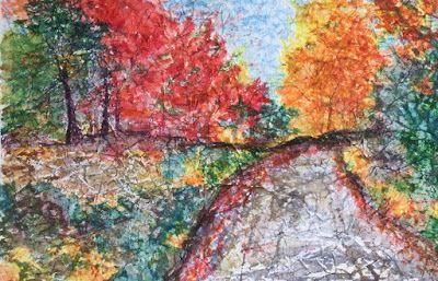 "Contemporary Landscape Art Painting, River, Rocks, ""Crisp Fall Day"" by Arizona Abstract Artist Cynthia A. Berg"