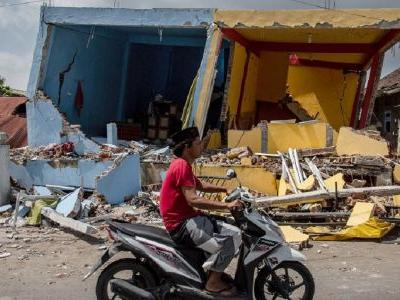 Two people have died after another strong earthquake ripped through the Indonesian island of Lombok
