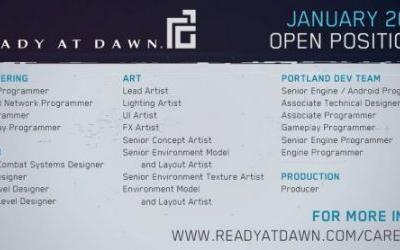 Ready at Dawn Has Several Open Positions Available