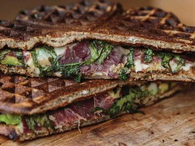 Waffle Sandwiches with Cecina, Avocado, and Arugula