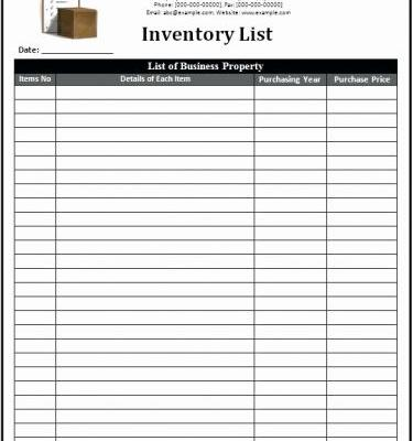 30 Best Of Household Inventory List Template Graphics