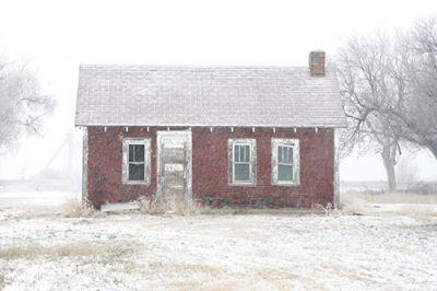 """Landscape,Architectural Fine Art Photography """"Red House in Snow"""" by Colorado Photographer Kit Hedman"""