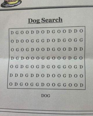 This Word Search Has Only One Word - Dog - Can You Find It?