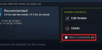 Steam Nixes Comments on Reviews By Default