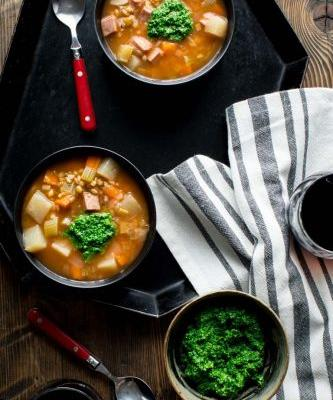 Slow cooker ham barley soup with spinach pesto