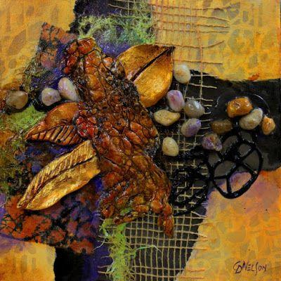 """Mixed Media Abstract Collage, """"Forest Floor"""" © Carol Nelson Fine Art"""